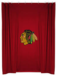 Shower Curtains With Red Nhl Chicago Blackhawks Shower Curtain Bathroom Accessories