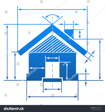 home symbol dimension lines element blueprint stock vector