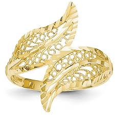 Wedding Rings For Her by 14k Yellow Gold Filigree Leaf Bypass Ring 22mm Width Size 55