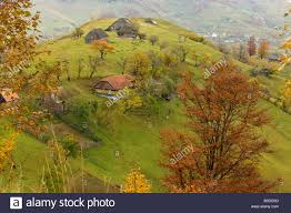 old farmhouses in a beautiful pastoral montane landscape with