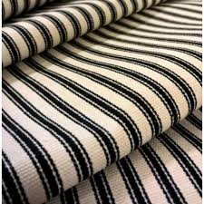 Waverly Home Decor Fabric Ticking Stripe Luxe Cotton Home Decor Fabric Black Cream By