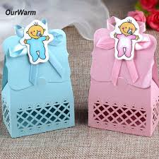 ourwarm 12pcs baby shower candy box cute gift bag paper for baby