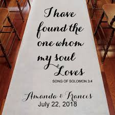 aisle runners i found whom my soul personalized wedding aisle runner