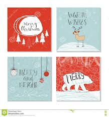set of 4 cute christmas gift cards stock vector image 80844840