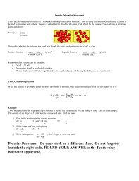 density calculation worksheet there are physical characteristics of