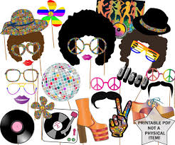 printable hippie photo booth props 70s party photo booth props disco party props