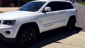 jeep srt modified grand cherokee modified black on white 20 inch wheels matt black