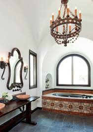 spanish style master bath with tiles built in bathtub and gothic