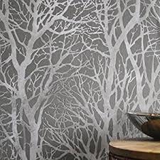 metallic grove tree wallpaper in grey silver metallics