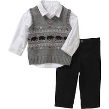 george newborn baby boy sweater vest shirt pant set