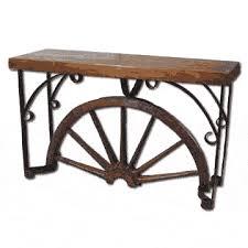 Wagon Wheel Coffee Table by Relcaimed Teak Wood Wagon Wheel Console Table