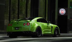 Nissan Gtr Yellow - green hulk widebody nissan gtr from jotech on hre wheels rear