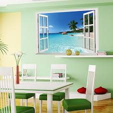 zooarts adhesivo mural de vinilo diseno 3d de ventana con vistas amaonm new design removable huge large beach sea window view art decor wallpaper mural wall decals sticker for home wall art decor kids bedroom living room