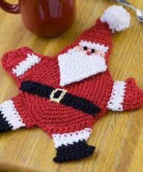 mr claus potholder free crochet pattern from red heart yarns