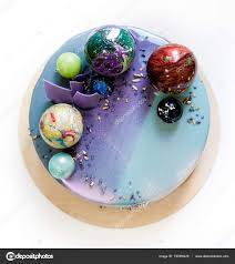 modern trendy mousse cake with violet blue marble mirror glaze on