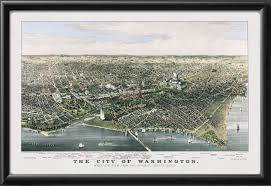 Washington Dc City Map by Vintage City Maps Restored Bird U0027s Eye View Map Of Washington Dc