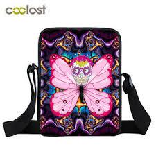 colorful skulls butterflies messenger bags shoulder cross