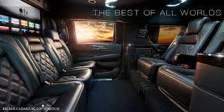 cadillac escalade interior 2016 becker automotive design luxury transport coaches sprinter