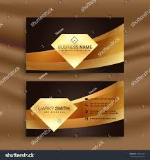 premium business card template golden wave stock vector 534031249