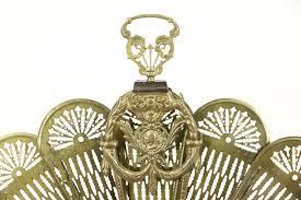 peacock fan brass vintage folding fireplace hearth screen harp