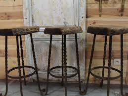 bar stools round brown polished wood and metal bar stools with