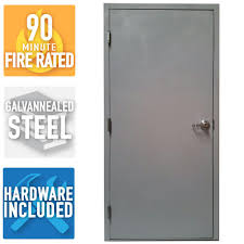 armor door 36 in x 80 in fire rated gray right hand flush steel