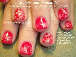 easy nail art for short nails cute red flower nail design youtube
