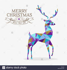 merry christmas reindeer shape triangle origami hipster style