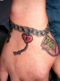 red lock heart in chain wrist bracelet tattoo