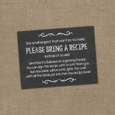what do you put on a bridal shower registry bring a recipe instead of a card insert for bridal shower