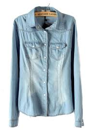 denim blouses light blue pockets lapel sleeve denim blouse blouses tops