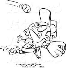 vector focused cartoon running catch baseball