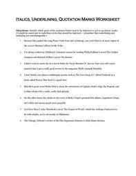 italics underlining quotation marks worksheet 5th 12th grade