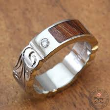 can titanium rings be engraved titanium ring with koa wood inlay engraved with hawaiian design