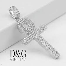 details about dg men u0027s 925 sterling silver ankh cross iced out cz