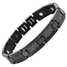 titanium magnetic bracelet black images Mens black titanium 3000 gauss magnetic therapy bracelet featuring jpeg