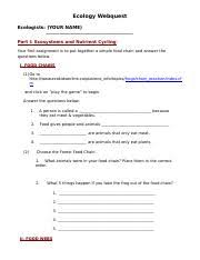 ecology review name environmental science ecology web quest part