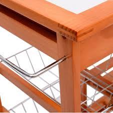 amazon com homcom rolling tile top wooden kitchen trolley