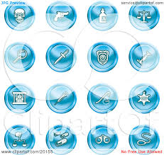 clipart illustration of a collection of blue icons of a skull
