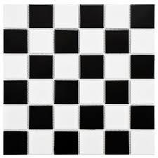 Black White Checkered Rug Merola Tile Boreal Quad Checker Black And White 11 7 8 In X 11 7