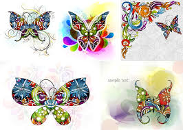 colorful butterfly pattern vector material my free photoshop