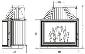camino misure focolare caminetto a legna uniflam 700 prisma