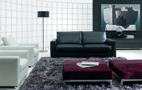 modern living room design with black sofa arch lamp white sofa
