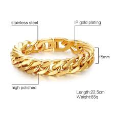 bracelet gold man stainless steel images Wide chain link bracelet gold road to man jpg