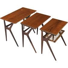 vintage rattan nesting tables set of 3 teak and rattan nesting tables by johannes andersen 1960s