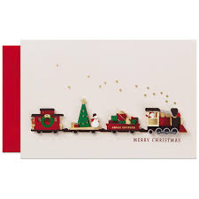 paper craft train christmas card greeting cards hallmark