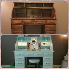 Used Makeup Vanity Roll Top Desk Makeover By Chelsea Lloyd Surprise Mint Drawers My