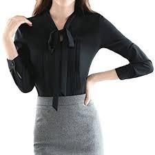 womens black blouse cekaso s sleeve shirts vintage bow tie v neck slim fit