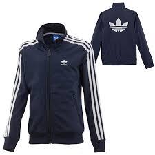 boys adidas originals firebird top track jacket navy blue silver