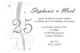 anniversary invitations free 25th wedding anniversary